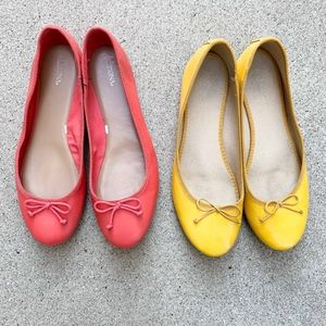 Lot of 2 Size 11 Ballet Flats - Yellow & Coral